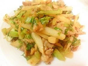 お弁当に☆豚肉と大根&葉のピリ辛味噌炒め