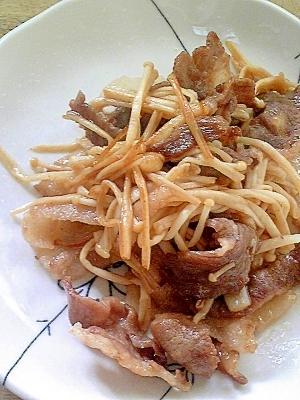 あっさり美味しい~えのきと豚肉の麺つゆ炒め♪