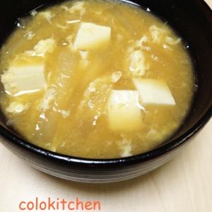 大根と豆腐のかき玉味噌汁
