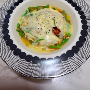 レンジで2分☆鯖の水煮と長葱のトマト煮
