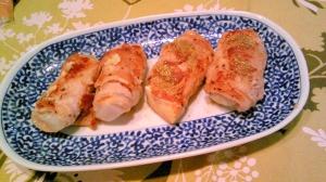 木綿豆腐とこんにゃくの肉巻き