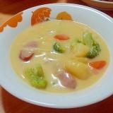 クノールのコーンクリームで具だくさんスープ