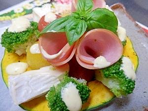 レンジカボチャとカラフル野菜のわさびマヨネーズ