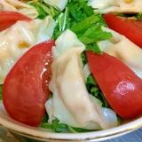 海鮮水餃子と水菜の酢醤油サラダ
