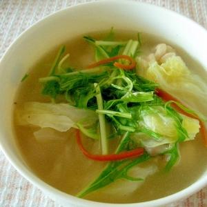 水菜とまいたけの中華スープ