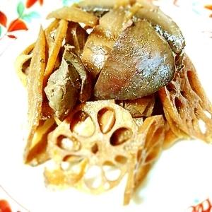 鶏レバーと根菜、きのこの煮物