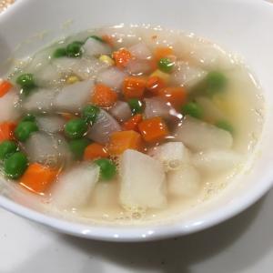 【幼児食】ミックスベジタブルと大根のスープ