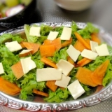 わさび菜と柿のサラダ