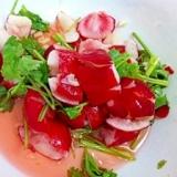 赤カブとパクチーの甘酢サラダ