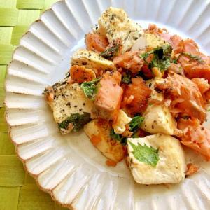簡単!茹で塩鮭と豆腐大葉のごま炒め