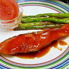 鮭のコチュジャン照り焼き。