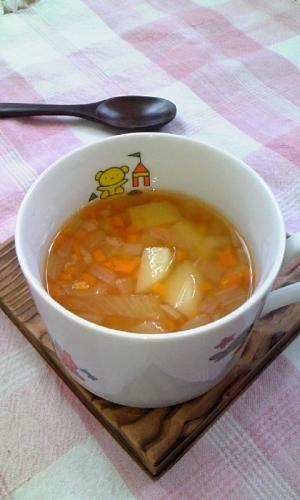 少し元気になったら♪病み上がりに!根菜類スープ♪
