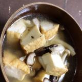 厚揚げとキノコの中華スープ