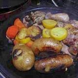 塩と胡椒味のチキンと野菜のシンプルタジン