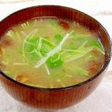 空心菜の新芽となめこのお味噌汁