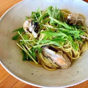ぷりっぷり!☆牡蠣と水菜のスパゲティ
