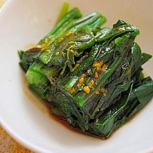 からし醤油で♪小松菜とほうれん草のお浸し