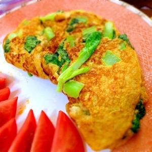 小松菜と長芋のふわとろ和風オムレツ