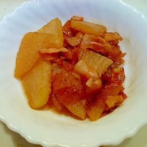 簡単、美味しい☆大根とベーコンのウスターソース炒め