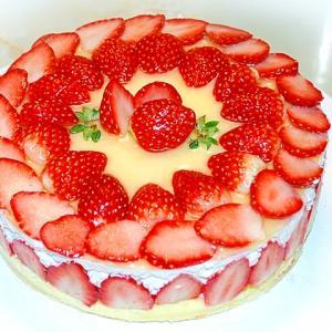 苺がたっぷり!苺の断面が見えるクリスマスケーキ♪