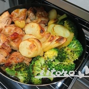 チキンと野菜のガリバタ醤油焼き
