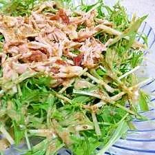 水菜とささみの梅ゴマサラダ