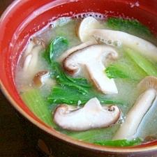 青梗菜とキノコのお味噌汁♪