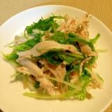 簡単&さっぱり☆蒸し鶏と水菜梅干のサラダ