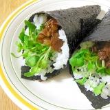 牛肉とかいわれの手巻き寿司