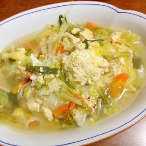 鶏ミンチ団子の中華スープ