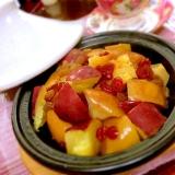 タジンでお砂糖要らず!薩摩芋とりんごのバター蒸し