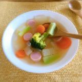春の彩り♡魚肉ソーセージのコンソメスープ