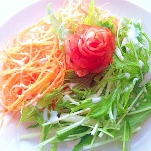 【簡単・彩り盛り付け】花咲く2色サラダ