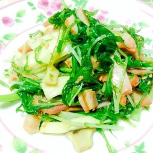 水菜とハムとエリンギのソテー♪