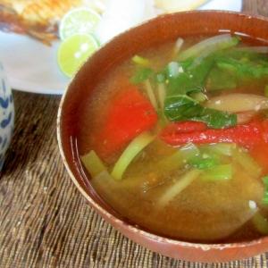 小松菜、大根、トマトの味噌汁