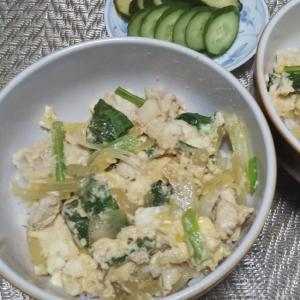 鶏むね肉と小松菜と玉ねぎの卵丼☆