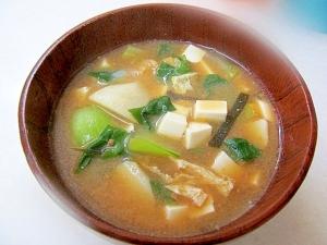 *里芋とチンゲン菜の味噌汁*