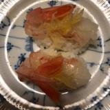 そうめんカボチャのゴマ油和えのせ生海老寿司