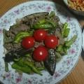 茄子とししとうの牛肉炒め
