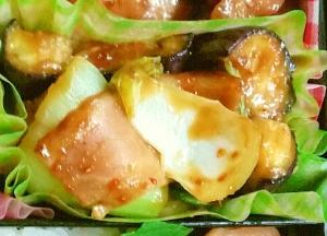 お弁当に♪チンゲン菜・なす・ベーコン炒め