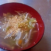 もやしとキャベツの中華スープ
