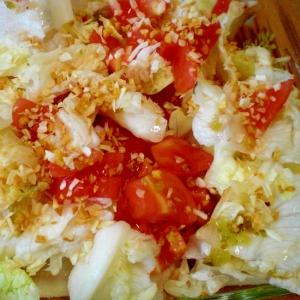 ニンニク&オニオンチップが効いてるレタスサラダ