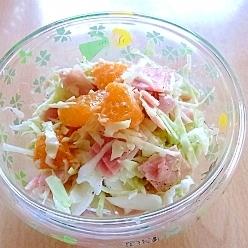ハムとキャベツとみかんのサラダ