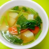じゃがいもとほうれん草の和風スープ