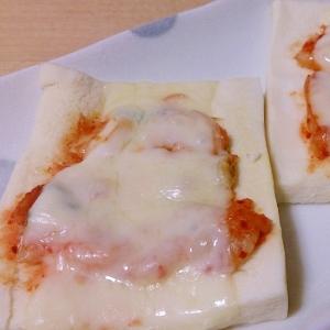 高野豆腐でキムチマヨネーズピザ
