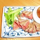小松菜とローストビーフ新玉葱おろしポン酢