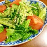 わさび菜サニーレタスキュウリの中華サラダ