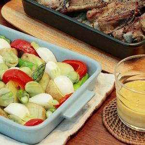 グリラーで、グリル野菜のレモン味噌ディップ添え