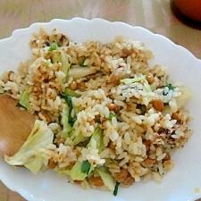 めんつゆで簡単納豆炒飯 チャーハン