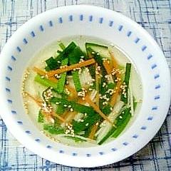 ニラと人参の中華スープ